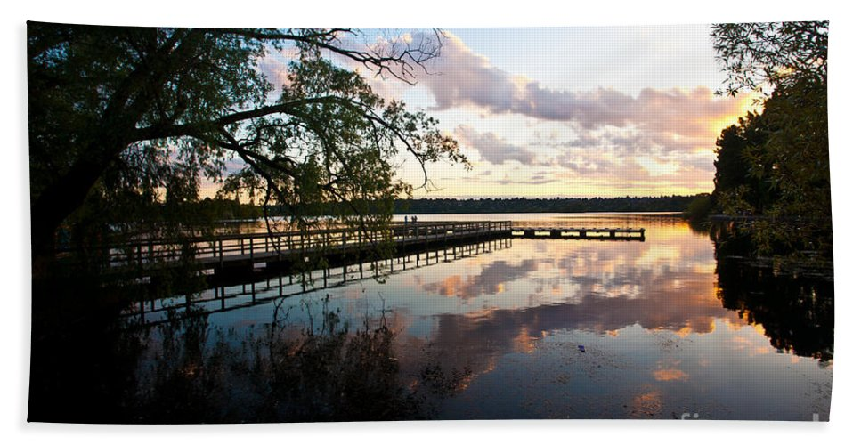 Sunset Bath Sheet featuring the photograph Greenlake Tranquility by Mike Reid