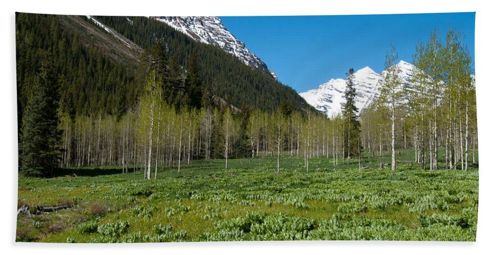 Rocky Mountains Hand Towel featuring the photograph Greens And Blues Of The Maroon Bells by Cascade Colors