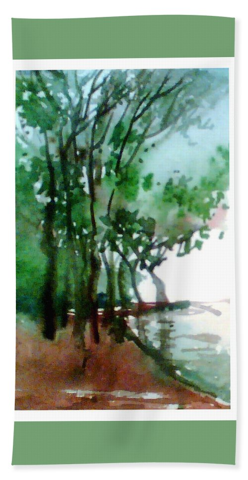 Water Color Bath Towel featuring the painting Greens by Anil Nene