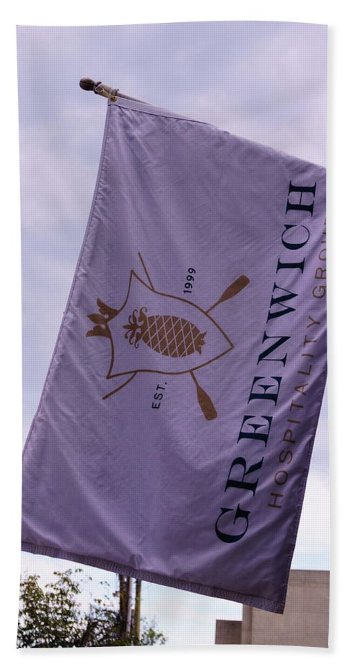 Greenwich Hand Towel featuring the photograph Greenwich Flag by Sue Schwer