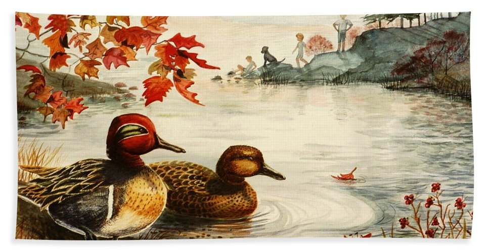 Ducks Bath Sheet featuring the painting Greenwinged Teal Ducks by Marilyn Smith