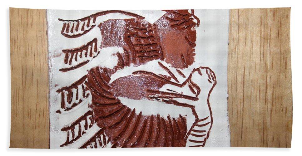 Gloria Photosgloria Photospineapple2pineapple Bath Sheet featuring the ceramic art Greeting 7 - Tile by Gloria Ssali