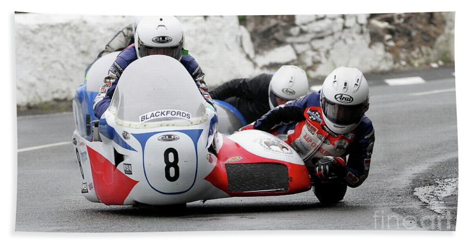 Motorbike Racing Bath Sheet featuring the photograph Greg Lambert/julie Canipa by Richard Norton Church