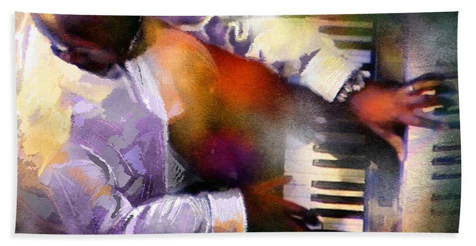 Musicians Hand Towel featuring the painting Greg Phillinganes From Toto by Miki De Goodaboom
