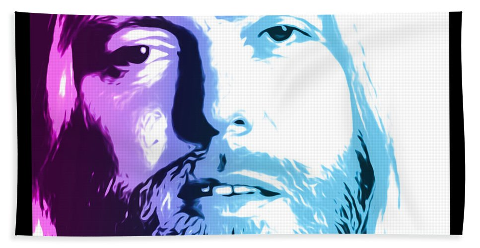 Allman Bath Towel featuring the digital art Gregg Allman 1947 2017 by Greg Joens