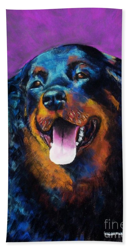 Rottweiler Hand Towel featuring the painting Gretchen by Frances Marino
