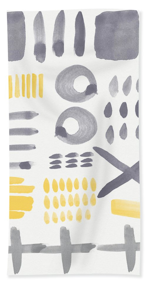 Grey And Yellow Hand Towel featuring the painting Grey And Yellow Shapes- Abstract Painting by Linda Woods