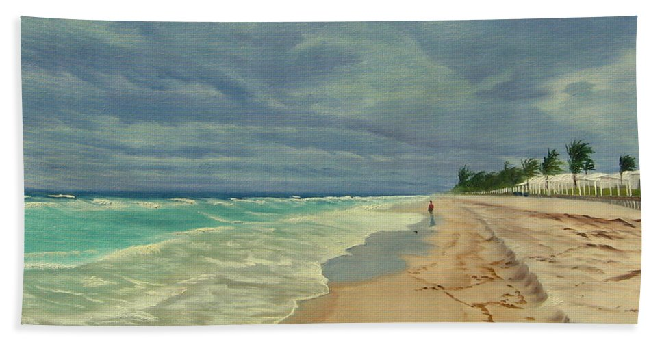 Beach Bath Towel featuring the painting Grey Day On The Beach by Lea Novak