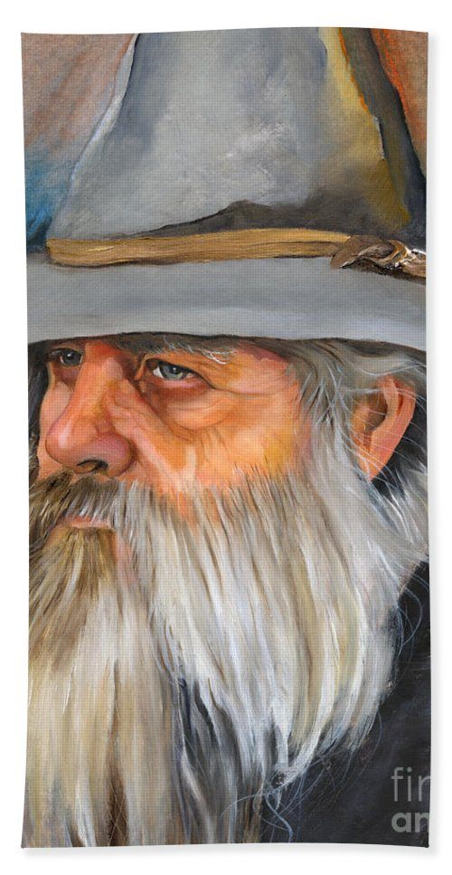 Wizard Bath Towel featuring the painting Grey Days by J W Baker