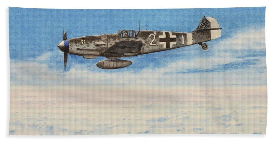Luftwaffe Bath Sheet featuring the painting Grey In Blue by Oleg Konin