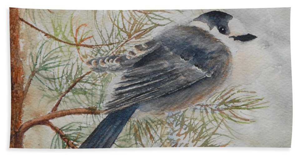 Bird Bath Towel featuring the painting Grey Jay by Ruth Kamenev