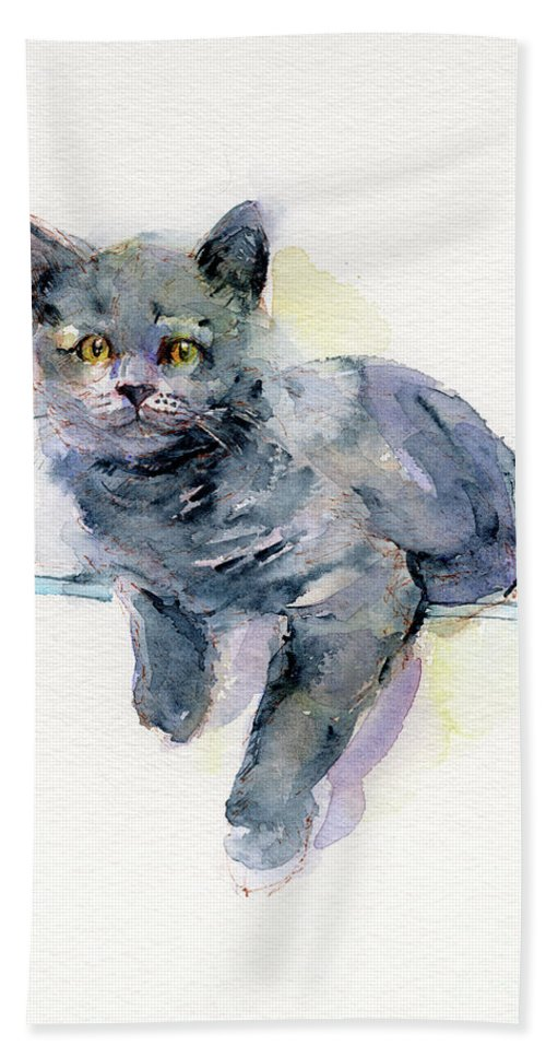 Gray Bath Towel featuring the painting Grey Kitten by John Keeling