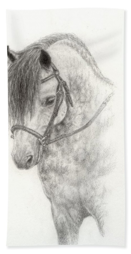 Pony Hand Towel featuring the drawing Grey Pony by Jennifer Nilsson