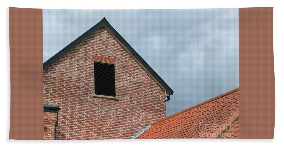 Brick Hand Towel featuring the photograph Grey Skyline by Ann Horn