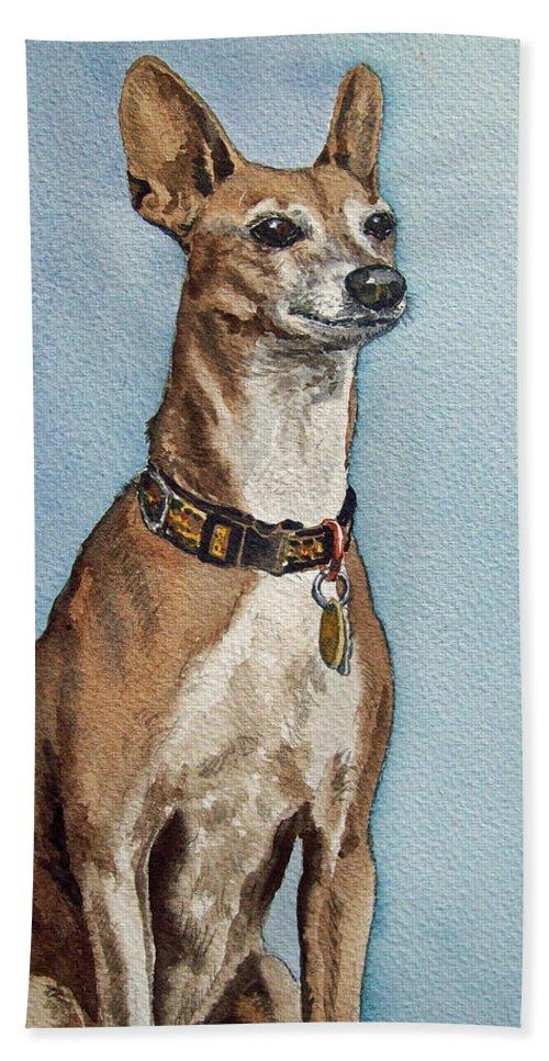 Dog Commission Art Hand Towel featuring the painting Greyhound Commission Painting By Irina Sztukowski by Irina Sztukowski