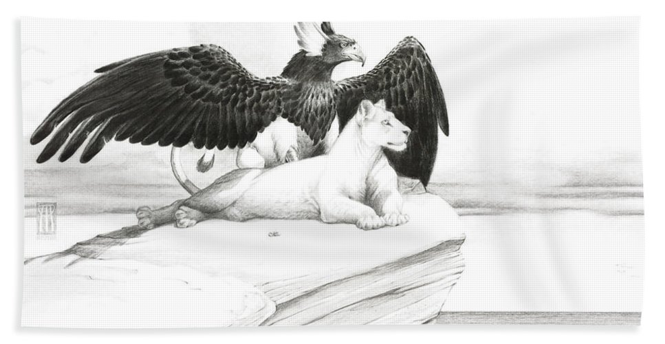 Griffin Bath Towel featuring the painting Griffin And Lioness by Melissa A Benson