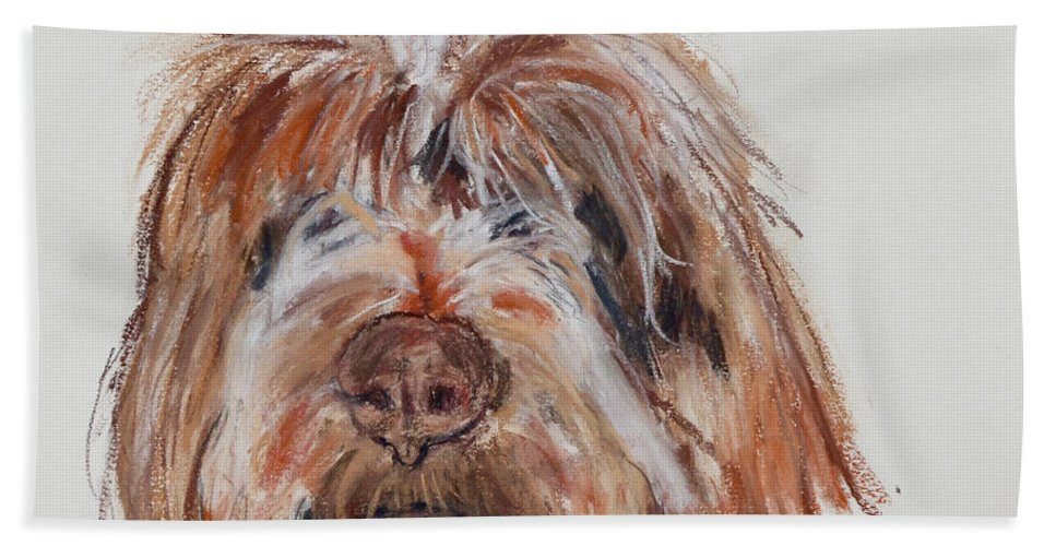 Wirehaired Pointing Griffon Bath Towel featuring the pastel Griffin by Cori Solomon