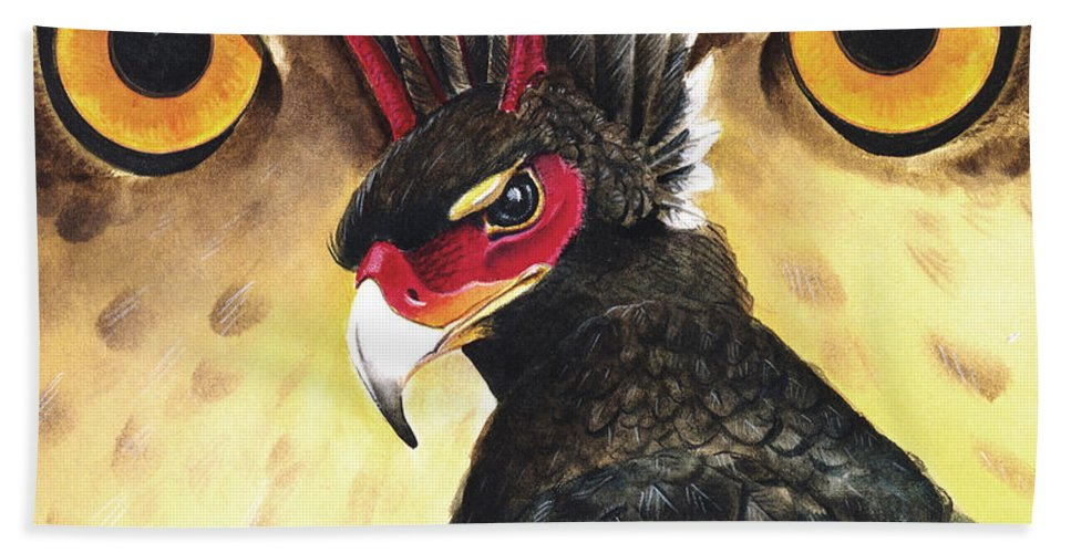 Griffin Bath Towel featuring the painting Griffin Sight by Melissa A Benson
