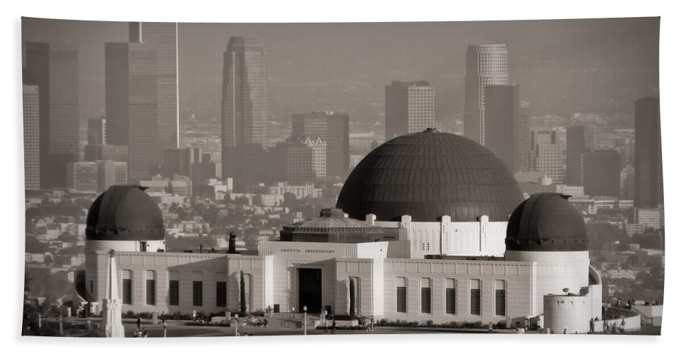 3scape Hand Towel featuring the photograph Griffith Observatory by Adam Romanowicz
