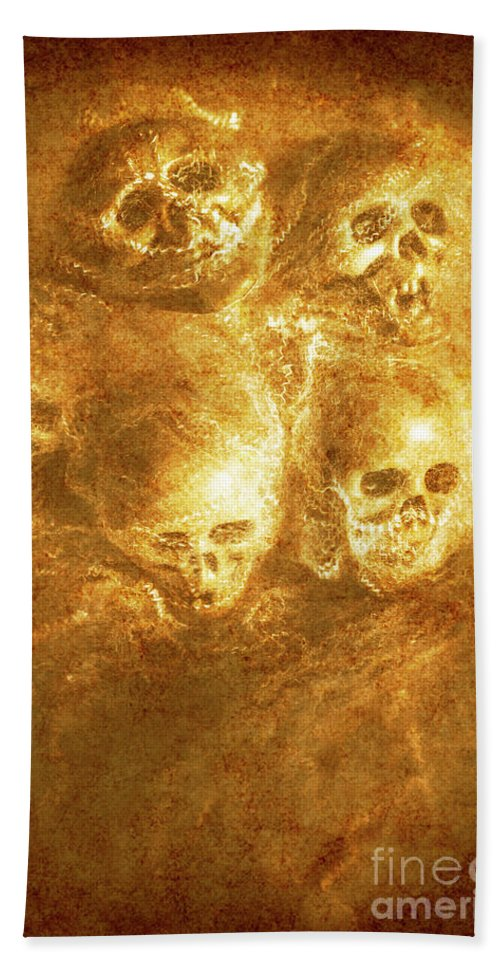 Horror Hand Towel featuring the photograph Grim Tales Of Burning Skulls by Jorgo Photography - Wall Art Gallery