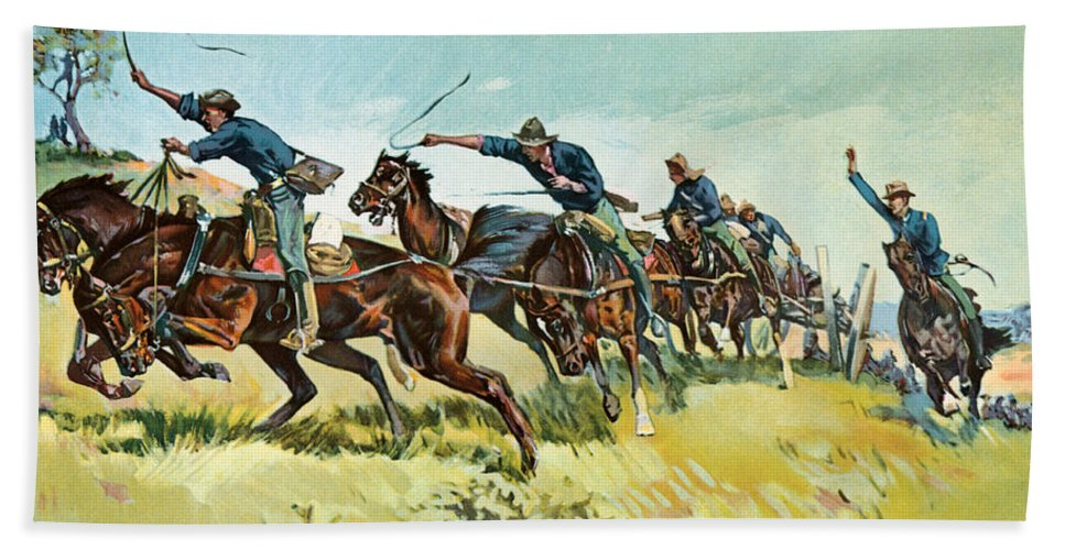 War Bath Sheet featuring the painting Grimes's Battery Going Up El Pozo Hill by Frederic Remington
