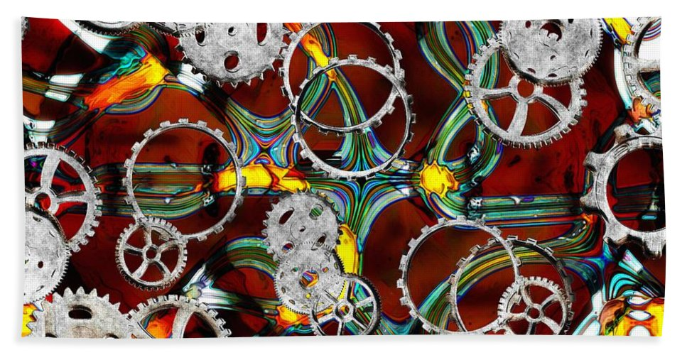Gears Bath Sheet featuring the painting Grinding The Gears by RC DeWinter