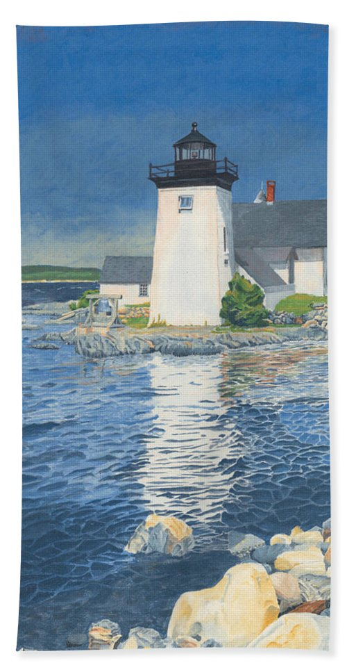 Lighthouse Bath Towel featuring the painting Grindle Point Light by Dominic White