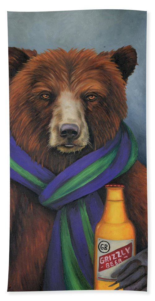 grizzly beer bath towel for saleleah saulnier the painting maniac