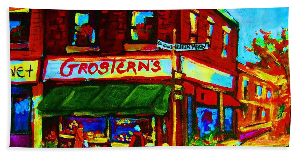 Grosterns Bath Towel featuring the painting Grosterns Market by Carole Spandau