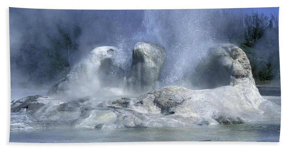 Yellowstone Bath Sheet featuring the photograph Grotto Geyser - Yellowstone National Park by Sandra Bronstein