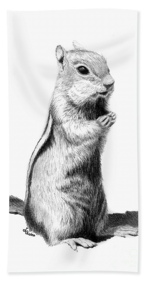 Ground Squirrel Hand Towel featuring the drawing Ground Squirrel by Lynn Quinn