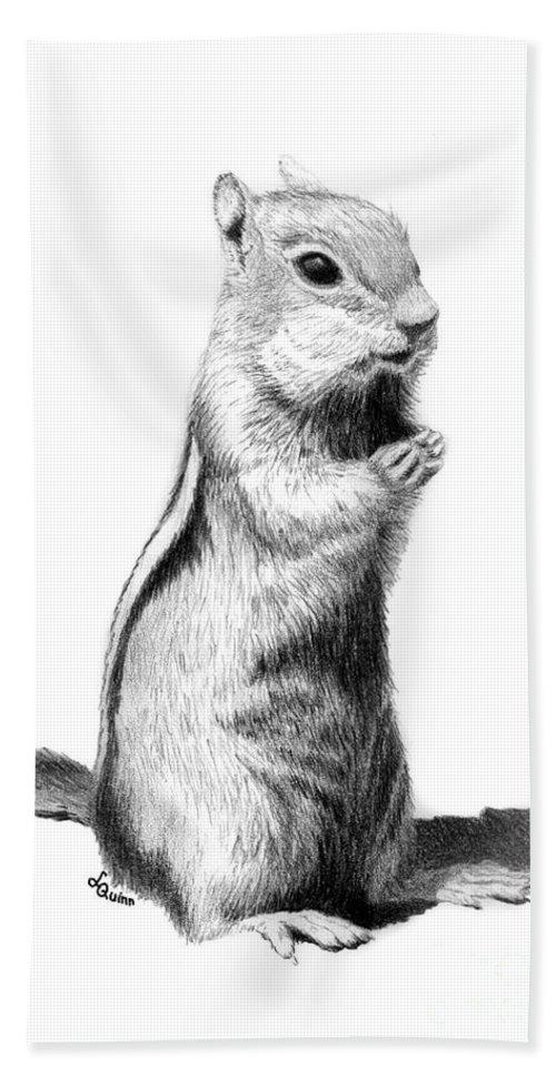 Ground Squirrel Bath Towel featuring the drawing Ground Squirrel by Lynn Quinn