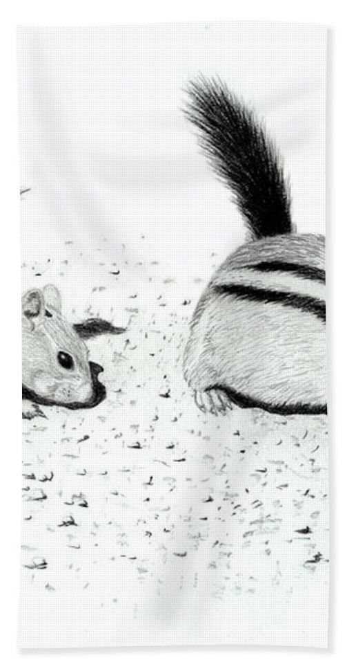 Ground Squirrels Bath Towel featuring the drawing Ground Squirrels by Lynn Quinn