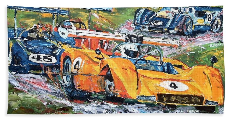 Can-am Race Cars Bath Sheet featuring the painting Group 7 Out Of The Corkscrew by Debbie Sampson