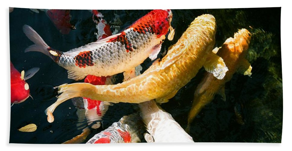 Fish Bath Towel featuring the photograph Group Of Koi Fish by Dean Triolo