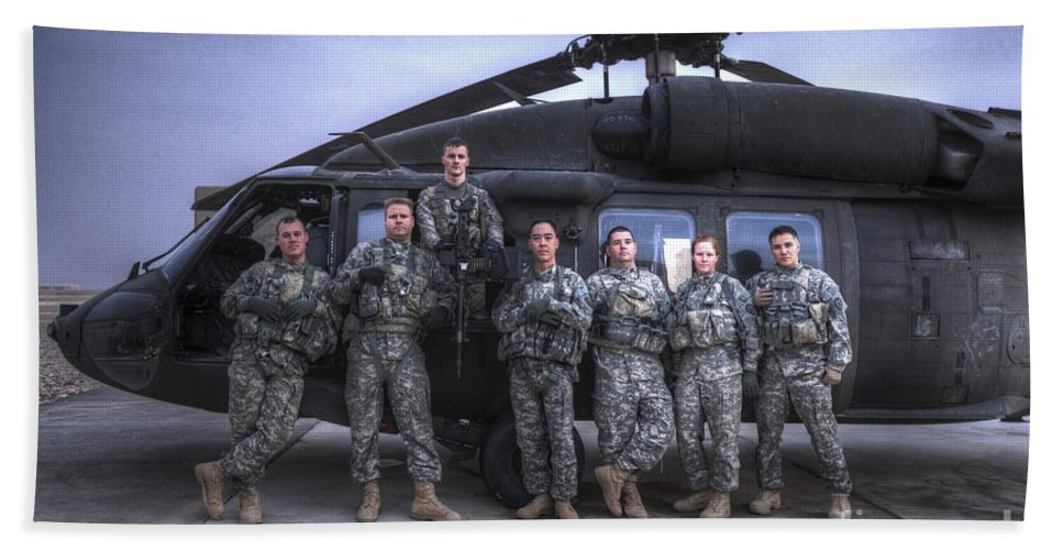 Horizontal Bath Sheet featuring the photograph Group Photo Of Uh-60 Black Hawk Pilots by Terry Moore