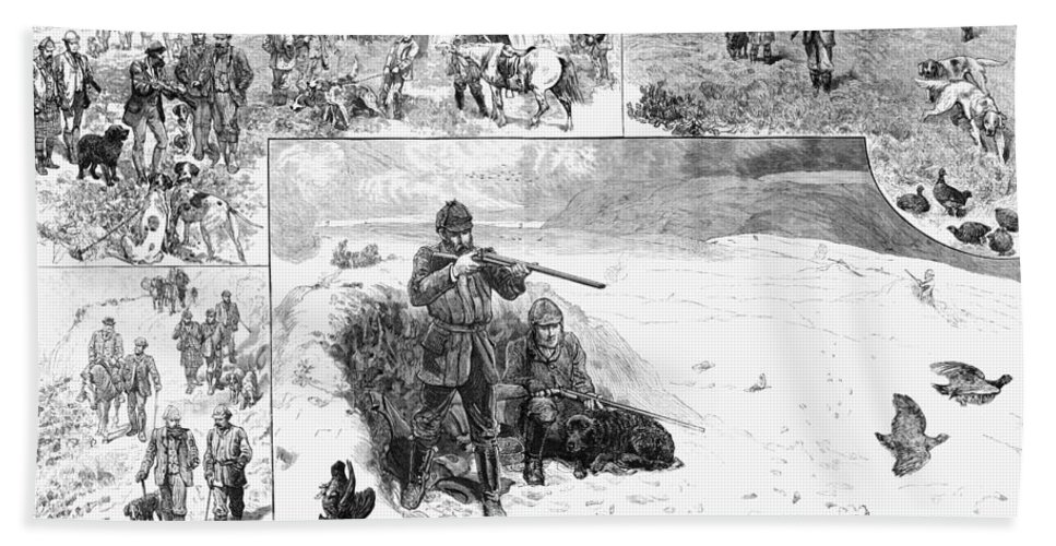 1887 Bath Sheet featuring the photograph Grouse Hunting, 1887 by Granger