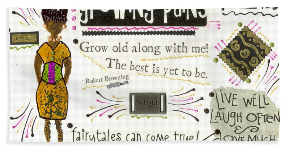 Gretting Cards Bath Sheet featuring the mixed media Grow Old With Me by Angela L Walker
