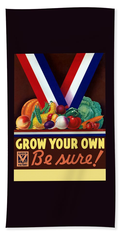 Wwii Bath Sheet featuring the painting Grow Your Own Victory Garden by War Is Hell Store