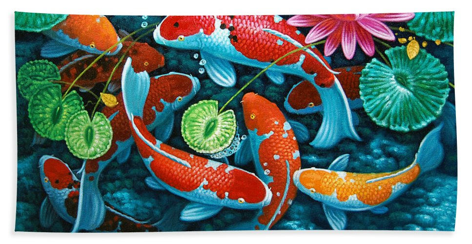 Pond Bath Sheet featuring the painting Growing Affluence by Melencio Sapnu