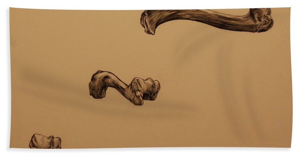 Bone Bath Sheet featuring the drawing Growing Bone by Michelle Miron-Rebbe