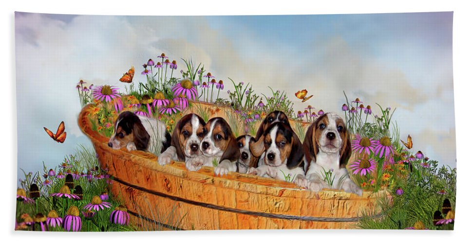 Beagle Puppies Bath Sheet featuring the mixed media Growing Puppies by Carol Cavalaris