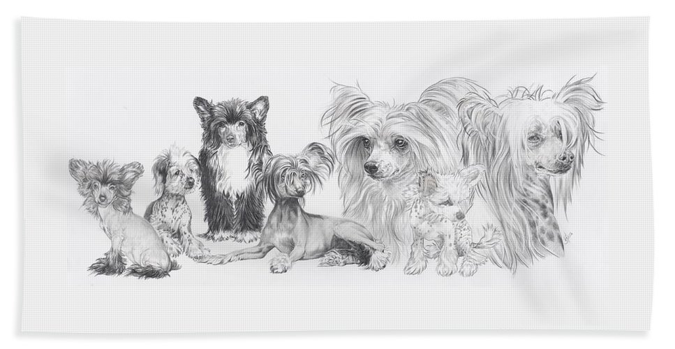 Toy Group Bath Towel featuring the drawing Growing Up Chinese Crested And Powderpuff by Barbara Keith