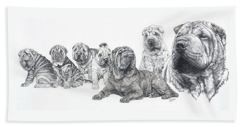 Dog Hand Towel featuring the drawing Growing Up Chinese Shar-pei by Barbara Keith
