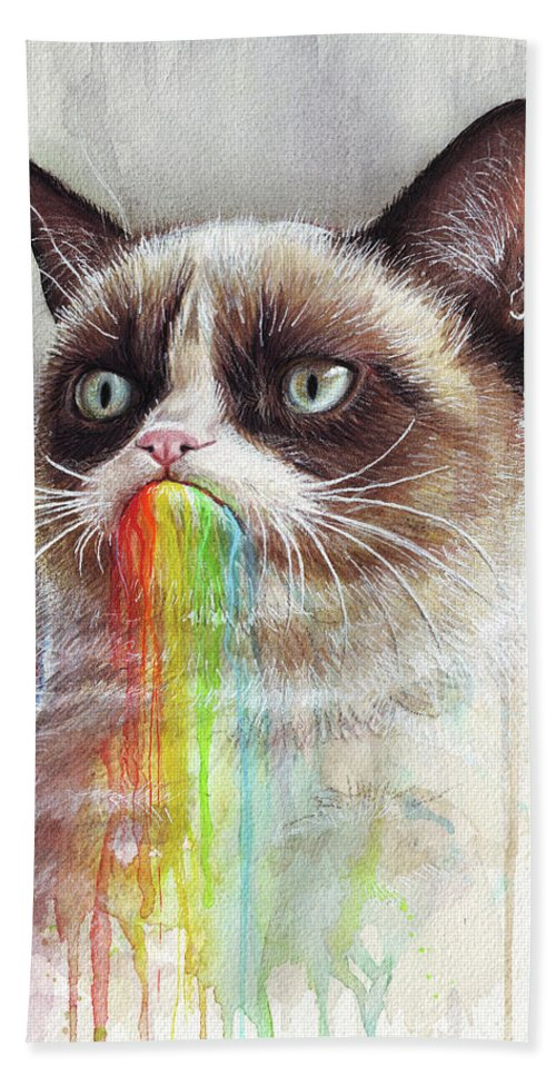 Grumpy Cat Bath Towel featuring the painting Grumpy Cat Tastes The Rainbow by Olga Shvartsur