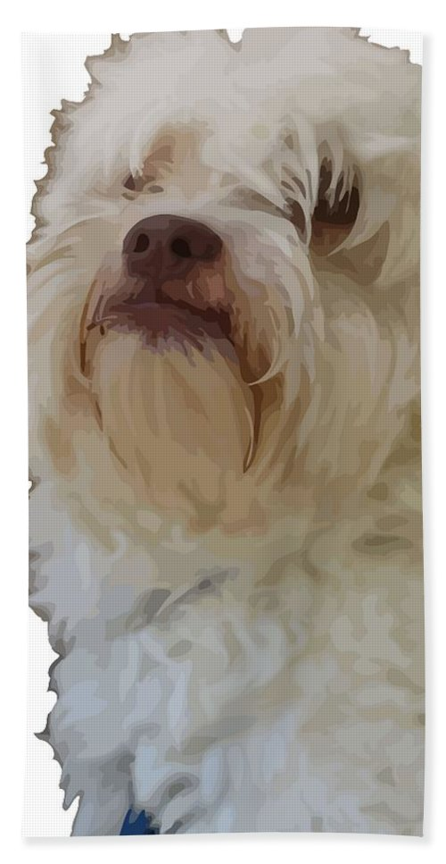 Thought Bath Sheet featuring the photograph Grumpy Terrier Dog Face by Taiche Acrylic Art