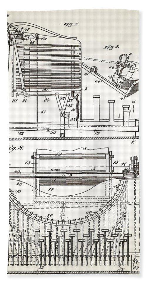 Grundy Bath Sheet featuring the digital art Grundy Typewriter Patent 1889 by Bill Cannon