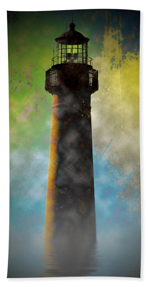 Grunge Bath Towel featuring the photograph Grunge Lighthouse by Bill Cannon