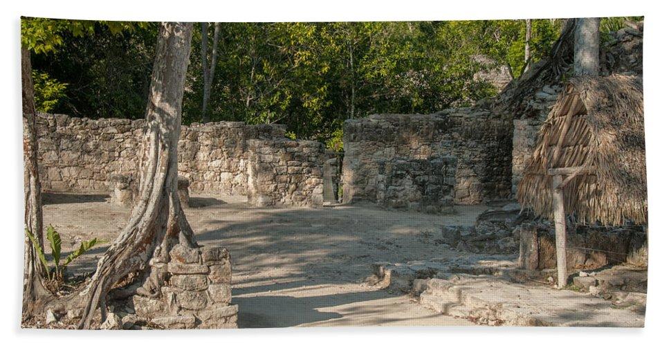 Mexico Quintana Roo Bath Sheet featuring the digital art Grupo Coba At The Coba Ruins by Carol Ailles