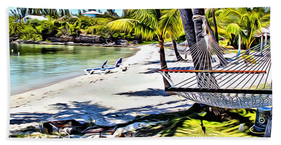 Grabbers Hand Towel featuring the digital art Guana Hammock by Anthony C Chen